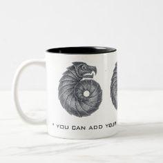 Customizable Mug AMMONITE black on grey Celtic Designs, Ammonite, Fossil, Coffee Mugs, Personal Style, Grey, Black, Gray, Black People