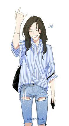 19 Ideas Drawing Cartoon Girl Kawaii For Cool Anime Girl, Beautiful Anime Girl, Anime Art Girl, Art And Illustration, Poses References, Cartoon Art Styles, Girl Cartoon, Cartoon Drawings Of Girls, Kawaii Girl Drawings