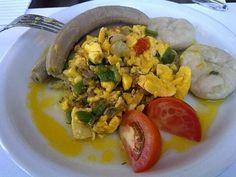 Ackee & saltfish.  Courtleigh Hotel. Kingston, Jamaica.
