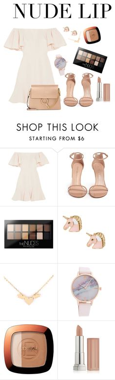 """""""Nude lipy"""" by ammuluharshini123 ❤ liked on Polyvore featuring beauty, Valentino, Stuart Weitzman, Maybelline, L'Oréal Paris and Chloé"""