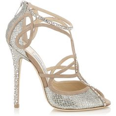 Jimmy Choo Kasava Nude and Champagne Suede and Glitter Fabric Sandals... (6 785 SEK) ❤ liked on Polyvore
