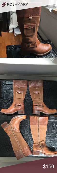 """Timberland riding boots Size 6(but I'm a size and they fit me but a bit snug)authentic Timberland riding boots that have been worn 1x! They came with the """"worn look""""! They are leather and suede! Getting rid of them b/c I've never worn them(brown isn't my color lol)!!! Timberland Shoes"""