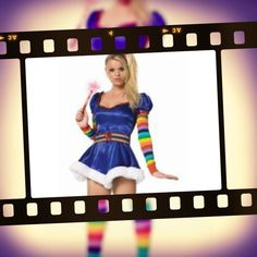 Rainbow Bright is a great 80's fancy dress costume idea. She's sort of a hero. It's the cutest outfit, very short dress with the magical colourful belt, stripey sleeves, legwarmers and the wand. Hire her from us at Costume Bazaar.