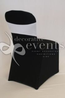 Lycra Chair Cover - Black with White Sash