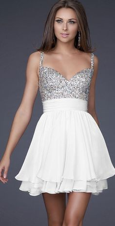 Stunning Sparkly Silver and White Dress- I would wear this the morning after I get married- Still looking and feeling fabulous to be a new wifey!