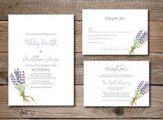 Printable Lavender Wedding Invitation, RSVP & OPTIONAL Infomaton Card Suite-Print Yourself-Digital Invite File