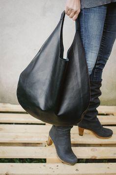 Black Leather Hobo Bag, every day bag, tote bag. $130.00, via Etsy.