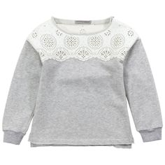 ottled grey sweatshirt made of fleece. Ivory imitation leather shoulder patches. Openwork knit patterns. Round neck and short sleeves. Rolled trims at the neckline and at the waistband. Ribbed knit sleeve trims. - 113.00 €