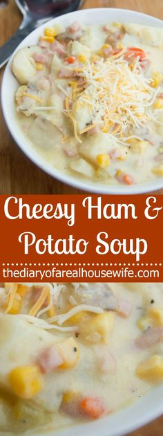 Saving this one for after the holidays. The perfect recipe for leftover ham. Cheesy Ham and Potato Soup.