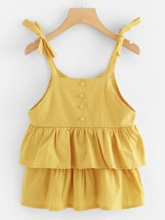 To find out about the Knot Shoulder Tiered Ruffle Hem Cami Top at SHEIN, part of our latest Tank Tops & Camis ready to shop online today! Dress Clothes For Women, Girls Fashion Clothes, Girl Fashion, Girl Outfits, Casual Outfits, Fashion 2020, Fashion Outfits, Cute Summer Outfits, Cute Outfits