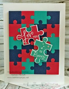 """card puzzle piece pieces - love you to pieces, Heather's Pages - """"Handmade by Heather"""" Pretty Cards, Love Cards, Puzzle Crafts, Puzzle Art, Love You To Pieces, Make Your Own Card, Scrapbook Cards, Scrapbooking, Valentine Day Cards"""