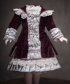 """Antique French Very Beautiful  Princess Style dress Dress  for Jumeau Bru Steiner Doll about  17-18"""" (43-46 cm)"""