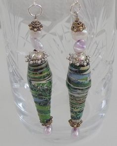 Lovely long paper bead drop earrings. Paper Earrings, Paper Jewelry, Paper Beads, Resin Jewelry, Fine Jewelry, Drop Earrings, Jewellery, Hirst, Sell On Etsy