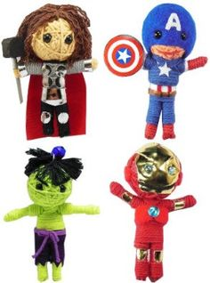 The Avengers Set 4 Voodoo String Doll Keychain Captain America, Iron man, Hulk, Thor NaLuck. $13.85