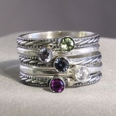 5 Stacking Rings with Birthstones, Mother's Rings, Family Rings, Gemstones, Sterling Silver rings, custom made on Etsy, $200.00