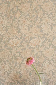 a single flower against floral wallpaper