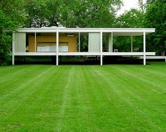 Farnsworth House built from 1946 to 1951 Located on the bank of the Fox River in Plano, Illinois, United States