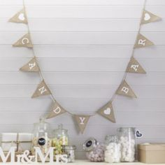"""Candy Bar Hessian Burlap Bunting - by (Ginger Ray). Our rustic hessian vintage bunting has the words """"Candy Bar"""" printed in white on triangular flags. Décoration Candy Bar, Candy Bar Wedding, Wedding Reception, Wedding Updo, Candy Buffet, Reception Decorations, Event Decor, Candy Bar Decoracion, Candy Bar Sayings"""