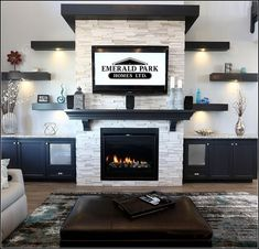 stunning family room ideas with fireplace 31 Fireplace Built Ins, Home Fireplace, Fireplace Remodel, Living Room With Fireplace, Fireplace Design, Fireplace Ideas, Tv Over Fireplace, Basement Fireplace, Fireplace Stone