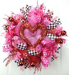 valentine heart mesh wreath