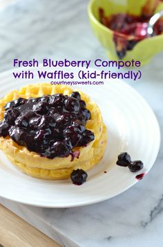 Fresh Blueberry Compote with Waffles #4MoreWaffles #shop