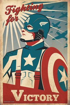Captain America Retro propaganda poster based on the 2011 movie. By Ollie Boyd - Visit to grab an amazing super hero shirt now on sale! Captain America Poster, Capt America, America Movie, A4 Poster, Kunst Poster, Film Poster, Poster Wall, Art Vintage, Vintage Posters