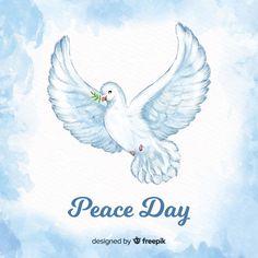 Fondo del día de la paz con paloma de acuarela Painted Rocks, Adobe Illustrator, Rooster, Finger Print, Peace, Vector Freepik, Watercolor, Rock Painting, Day