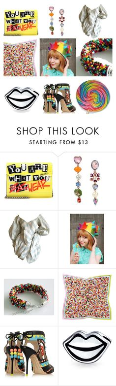 """""""Candy [you are what you wear]"""" by annacullart ❤ liked on Polyvore featuring Jimmy Choo, Betsey Johnson, Kim Gilham, Sophia Webster, Bling Jewelry, contestentry and statementbags"""
