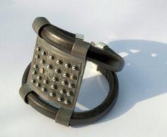 OOAK Black Statement Armor Bracelet - Sterling Silver and 18k gold - Unique gift for her