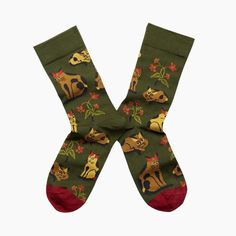 Bonne Maison Army Green Cat Socks