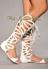 white cut out knee high gladiator sandals/ footwear collection