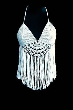 crochet top, handmade bikini, gift ideas, summer clothing,cozy dress , beach dress,top with fringes by TinasHandicraftGr on Etsy