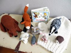 Hand-Knit Story Props for The Mitten by Jan Brett (pattern links included; from Itty Bitty Love)