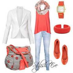 Love the scarf and shirt combo! ...Spring/ Summer 2013 Outfits for Women by Stylish Eve