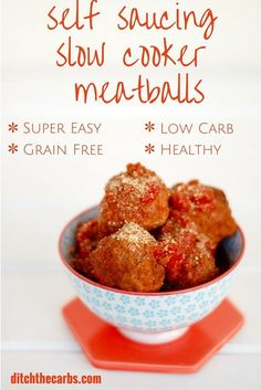You have got to try this amazing and easy healthy nutritious dinner - Self saucing meatballs in the slow cooker. Serve with zoodles makes this low carb, grain free, gluten free and delicious.  |ditchthecarbs.com via @ditchthecarbs