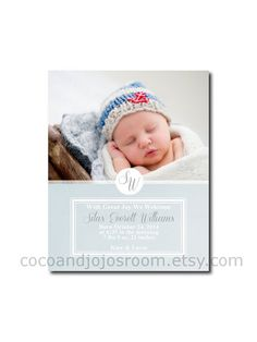 Baby Boy Blue  Single Sided Birth Announcement by cocoandjojosroom, $8.00