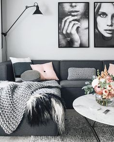 - I like the L shaped couches as one main statement pieces alongside low coffee tables with large art and freestanding floor lamps.