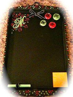 DIY chalkboard/memo board made on a cookie sheet