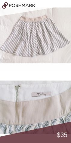 """🔴FINAL SALE🔴 >> Sophisticated yet feminine, this high waisted skirt is very flattering and versatile. Pair it with any top for a classic style with curve appeal.  d e t a i l s + Bought at Anthropologie + like new, banded waist w/ vintage buttons, front slip pockets & back zipper + white/tan neutral tones & light blue diagonal stripes create a classic, slimming style  c o n t e n t + shell/lining 100% cotton  m e a s u r e m e n t s + waist 28"""" 