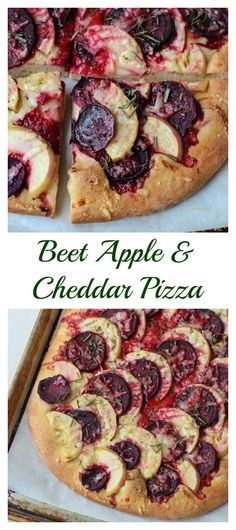 Beet Apple Cheddar Pizza. A sweet and savory homemade pizza that's beautiful, healthy, and delicious!