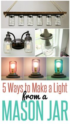 5 Ways to Make a Light from a Mason Jar ~ Are you a mason jar lover? Want to add character to your builder basic light fixtures? Check out these five simple projects that turn inexpensive mason jars into eye-catching DIY light fixtures!