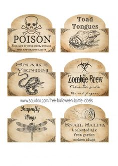 8 Best Images of Free Printable Potion Labels - Free Printable Halloween Labels, Free Printable Halloween Bottle Labels and Harry Potter Potions Labels Free Printables Spooky Halloween, Theme Halloween, Halloween Potions, Halloween Projects, Holidays Halloween, Vintage Halloween, Halloween Home, Halloween Clothes, Halloween Scrapbook