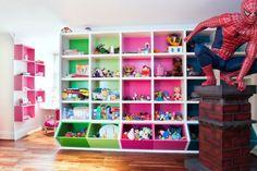 colorful playroom storage ideas 35 Awesome Kids Playroom Ideas - Angela Home Kids Playroom Storage, Kids Playroom Furniture, Kid Toy Storage, Playroom Design, Playroom Decor, Cube Storage, Playroom Ideas, Storage Units, Bedroom Storage