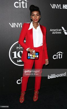 Singer Janelle Monae attends the 2016 Billboard Power 100 Celebration at Bouchon on February 2016 in Beverly Hills, California. Colourful Outfits, Cool Outfits, Beverly Hills, Red Pants, Red Trousers Outfit, Red Fashion, Formal Fashion, Office Fashion, Red Suit
