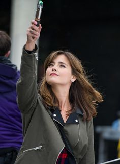 Jenna Coleman as Clara apparently pretending to be the Doctor