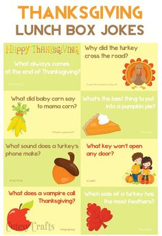 School Lunch Ideas - Thanksgiving Jokes - Cutesy Crafts