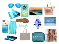 """Beach#1"" by cheetah-caroline ❤ liked on Polyvore featuring Matouk, Trademark Fine Art, Chicnova Fashion, Tkees, MACBETH, Joie, Casetify, Black, Rip Curl and Ray-Ban"