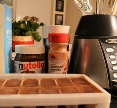 DIY Blended Iced Coffee Recipe  with Nutella & Coffee Ice Cubes