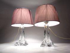 Edle Französische Cristallerie Lorraine Kristall Tischlampen 40er-60er Art Deco