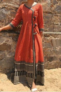 Buy The Secret Label Maroon Cotton Printed Angrakha Kurti online in India at best price.Shop online Angrakha cape with Printed Pants by The Home Affair Orange angrakha cape with side slit. Kurta Designs Women, Blouse Designs, Latest Kurti Designs, Indian Dresses, Indian Outfits, Angrakha Style, Kurti Designs Party Wear, Mode Hijab, Indian Designer Wear